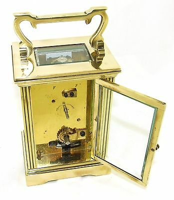 French Brass Carriage Clock with Bevelled Glass & Winding Key WORKING 10