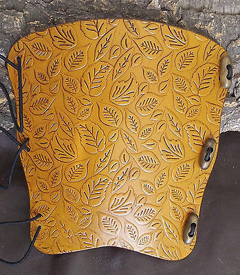 pagan larp armguard Embossed autumn leaves leather archery arm guard bracer