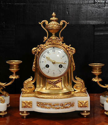 Ormolu and Marble Boudoir Antique French Clock Set by Vincenti C1860 7