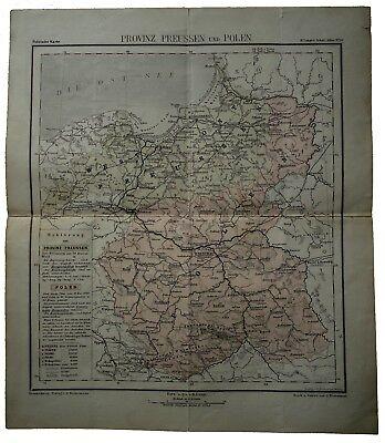 1879 Provinz Preussen und Polen Politische Karte