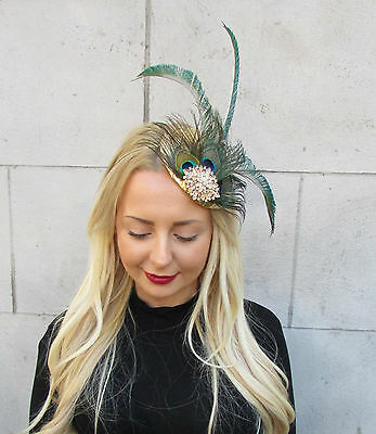 Gold Green Peacock Statement Feather Fascinator Pillbox Races Hat Ascot Vtg 2299 4