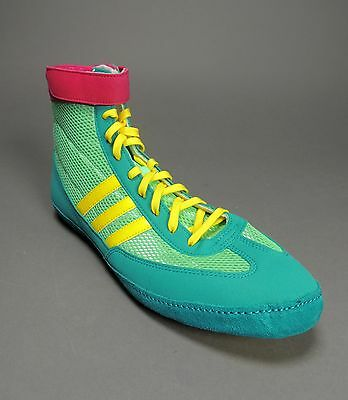 ... NEW Adidas Combat Speed 4.0 IV Wrestling Shoes Emr Pink Yellow G96429  Retail  75 4 4735791cb