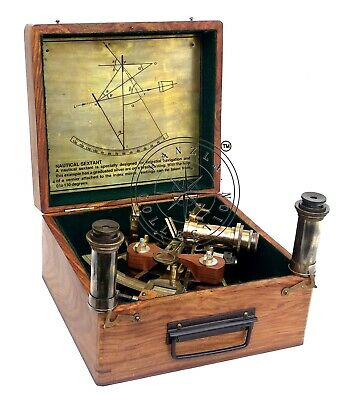 """8"""" Henry Barrow Nautical Sextant Antique Brass Ship Astrolabe With 2 Telescope 2"""