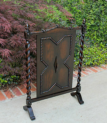 Antique English Dark Oak Jacobean Barley Twist  Hearth Fireplace Screen 5
