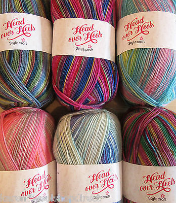 NEW SHADES 100g BALLS STYLECRAFT BOHO//HEAD OVER HEELS 4ply SOCK AND SHAWL YARN