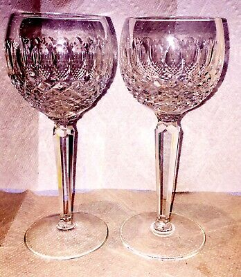 2 Waterford Cut Crystal Tall Colleen Hock Glasses. Pristine Signed 3