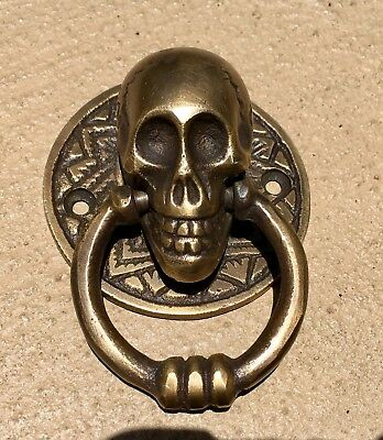 "2 small SKULL head handle DOOR PULL ring natural cast BRASS old style 5 cm 2"" 6"