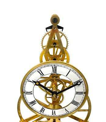 24K Gold Plated 8 Day Great Wheel Fusee Driven Porcelain Dial Skeleton Clock 6