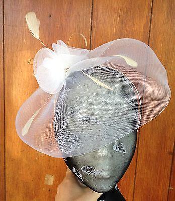 white feather headband fascinator millinery wedding ascot hat hair piece 1 2