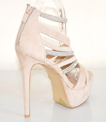 ... SANDALI BEIGE donna DECOLTE scarpe tacco alto STRASS plateau eleganti  sera XA1 4 e31dba2f0cb