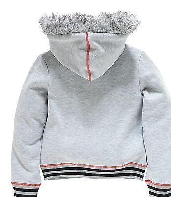 Girls Grey Zip Up With Fur Trim Hood 5-6 7-8 9-10 11-12 Years 3