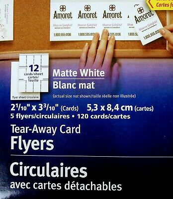 Avery Tear-Away Card Flyers - Mate White AVE16151 -  5 Flyers 120 Cards Ink-Jet 7