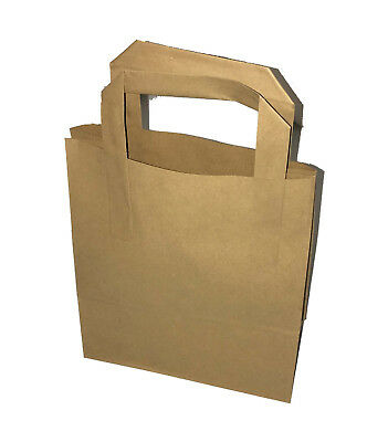 All Sizes White or Brown Kraft Paper SOS Takeaway Carrier Bags with Flat Handles 2