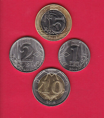 R* Moldova 1-10 Lei Complete Set Of 4 Coins 2018 Unc Details 2