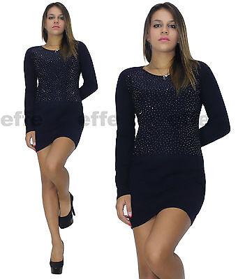 ... Vestito donna maglione Maxipull miniabito maxi maglia strass 6092 2 7720a9d01a0