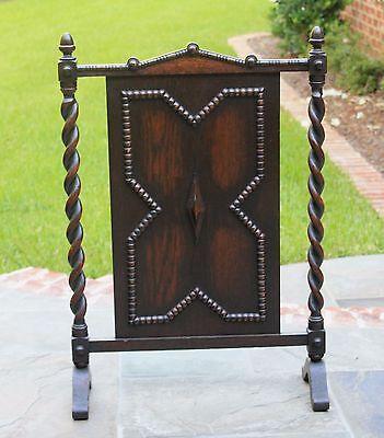 Antique English Dark Oak Jacobean Barley Twist  Hearth Fireplace Screen 3