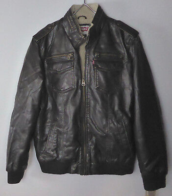 b7886d4df LEVI'S LEVI STRAUSS Faux Sherpa Lined Faux Leather Aviator Bomber Jacket  NWT 180