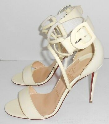 separation shoes bb215 508a8 CHRISTIAN LOUBOUTIN CHOCA 100mm Patent Leather Sandals Ivory Size 37 1/2