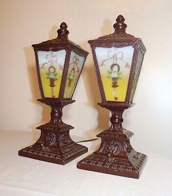 pair of antique vintage ornate reverse painted glass metal table boudoir lamps 9