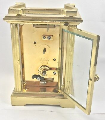 FRASER HART Brass Carriage Mantel Clock Timepiece with Key  Working Order 10