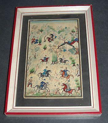 Antique Persian Handmade Miniature Painting Islamic Artwork Battle War Scene 3