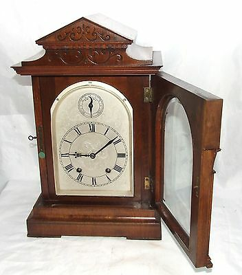# Antique LENZKIRCH Walnut TING TANG Bracket Mantel Clock : SERVICED & WORKING 4