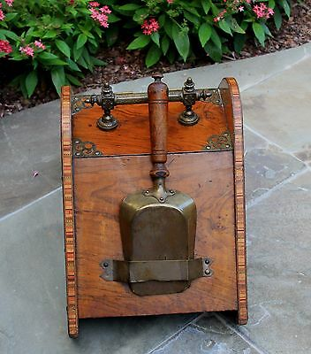 Antique French Burled & Inlaid Walnut Fireplace Hearth Coal Hod Scuttle Shovel 8