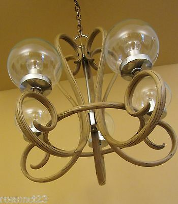 Vintage Lighting 1970s Mod bentwood style chandelier   Remarkable 2