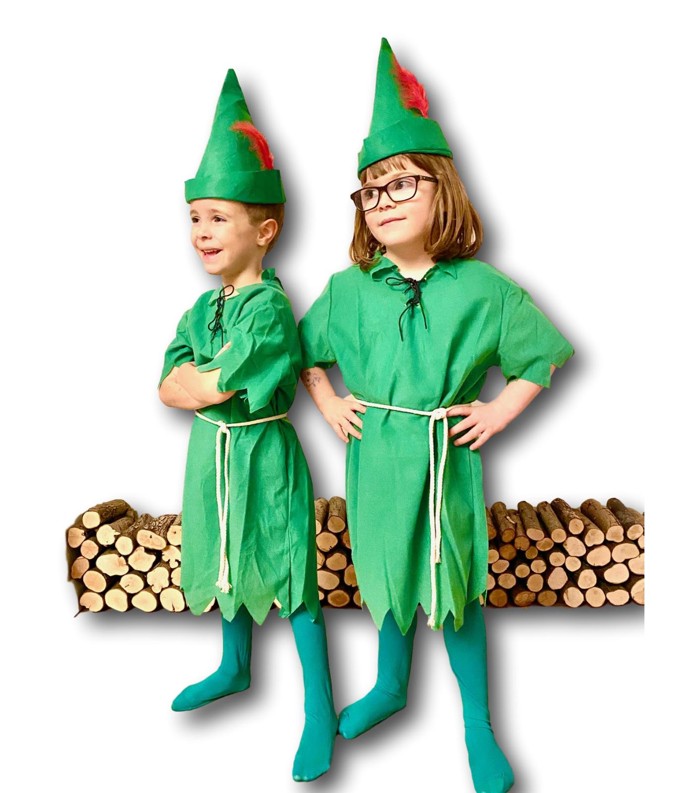 Kinder Peter Pan Kostüm Weihnachtselfe Unisex Jungen Mädchen Buchwoche 6-8