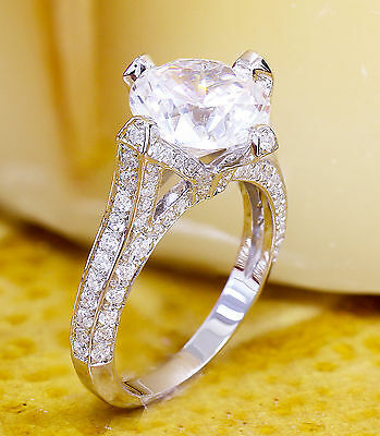 14K White Gold Round Forever One Moissanite and Diamond Engagement Ring 2.20ct 4