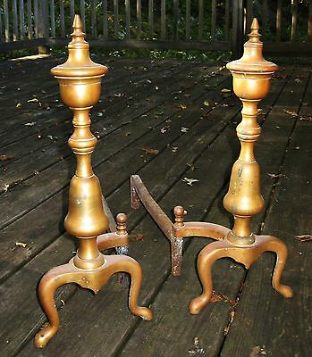 Antique 18th Century Federal Pair Brass Urn Top Fireplace Andirons 7