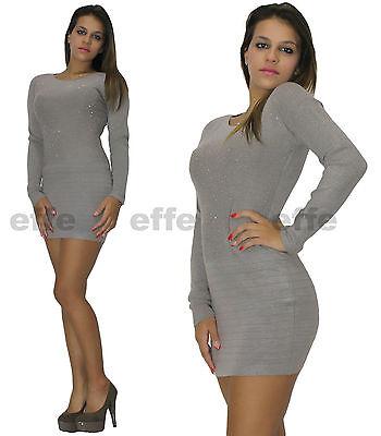 ... 2 di 6 Vestito donna maglione Maxipull miniabito maxi maglia strass  6092 3 99e08a5c351