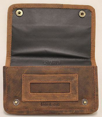 Quality Full Grain  Vintage Leather Tobacco Pouch. Style:12033. BLACK/BROWN 8