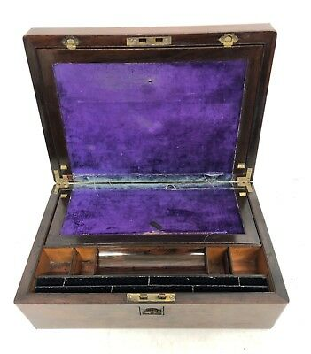 Antique Rosewood & Mother of Pearl Inlaid Writing Box / Slope for Restoration 8