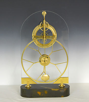 French Style Thin Glass Pinwheel Escapement Big Wheel Marble Base Skeleton Clock 3