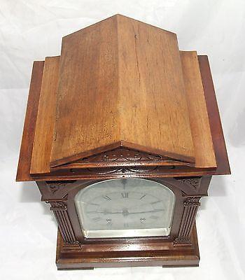 # Antique LENZKIRCH Walnut TING TANG Bracket Mantel Clock : SERVICED & WORKING 9