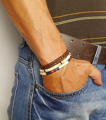 SURFER AUSTRALIA Herren Leder Armband Wickelarmband Perlen Geschenkidee NEU 2