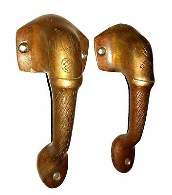 A Pair of Lovely brass made Elephant Face Shape DOOR HANDLES Engraved from INDIA 2