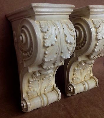 Pair Antique Finish Shelf Acanthus leaf Wall Corbel Sconce Bracket Vintage 2