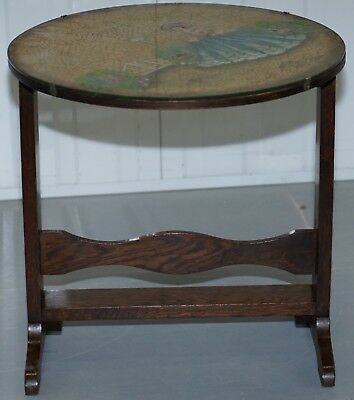 Rare English Oak Tilt Top Side Table With Hand Painted Picture Glass Case Lovely 6