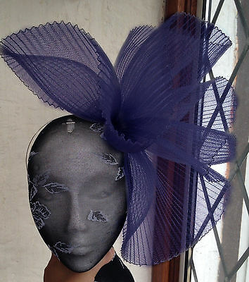 navy blue fascinator millinery burlesque wedding hat ascot race bridal british 1 3