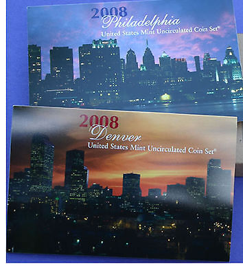 2008 P and D United States Mint ANNUAL Uncirculated Coin Set 28 BU Coins and COA 3