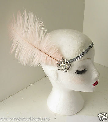 Pink Silver Ostrich Feather Flapper Headpiece 1920s Vintage Headband Pearl k66 3