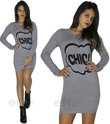 ... 2 di 6 Maxipull miniabito donna vestito maxi maglia abito con stass  pullover nuovo 1506 3 23928a94d39