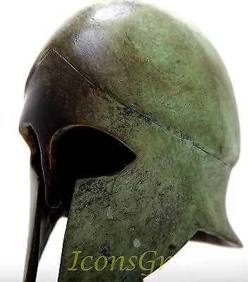 Ancient Greek Bronze Museum Replica Of Corinthian Helmet On A Base 1378-1 4