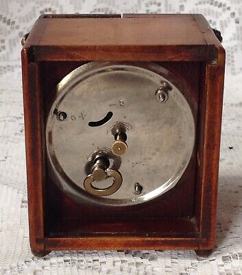 Antique, Unusual Travel, Carriage Clock In Mahogany Casing, Doors To Front 8