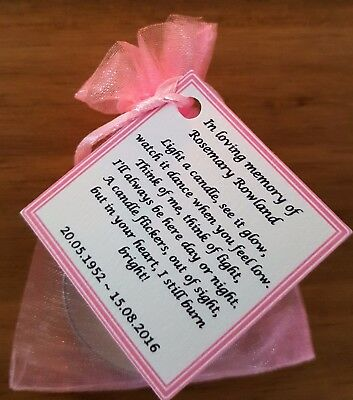 Funeral Personalised Remembrance & any occasion candle favours. Light in memory 10