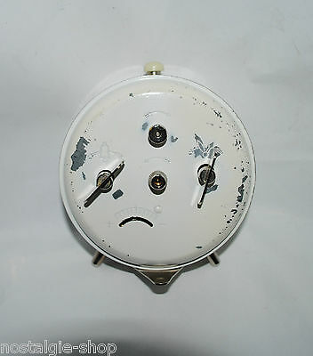 Original 50er 60er Peter Watch Alarm Clock WHITE METAL MANUAL WINDING 50s 60s