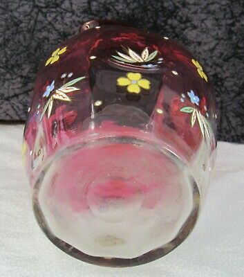 Antique Victorian Era Bohemian Czech Cranberry Enameled Art Glass Water Pitcher 6