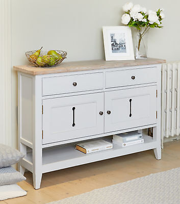 Signature Solid Wood 2 Door 2 Drawer Medium Sideboard Storage Grey Limed Oak Top 2